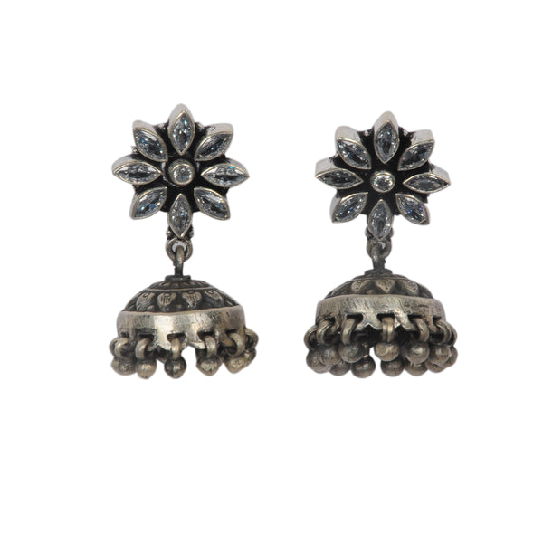 Oxidized Sterling Silver Antique Cut Stone Jhumka