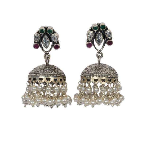 Oxidized Sterling Silver Antique Multi Stone Jhumka.