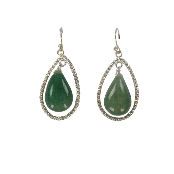 Silver Emerald Hanging Earring