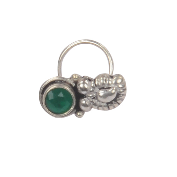 RITI- Oxidised Silver Emerald Stone Nose Ring