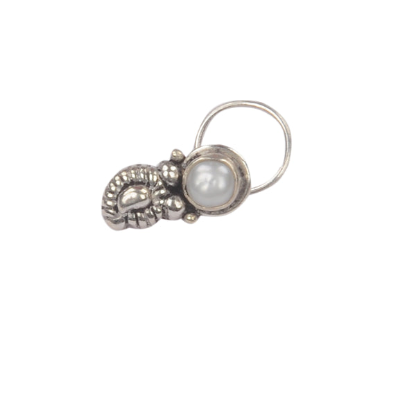 RITI- Oxidised Silver Pearl Nose Pin