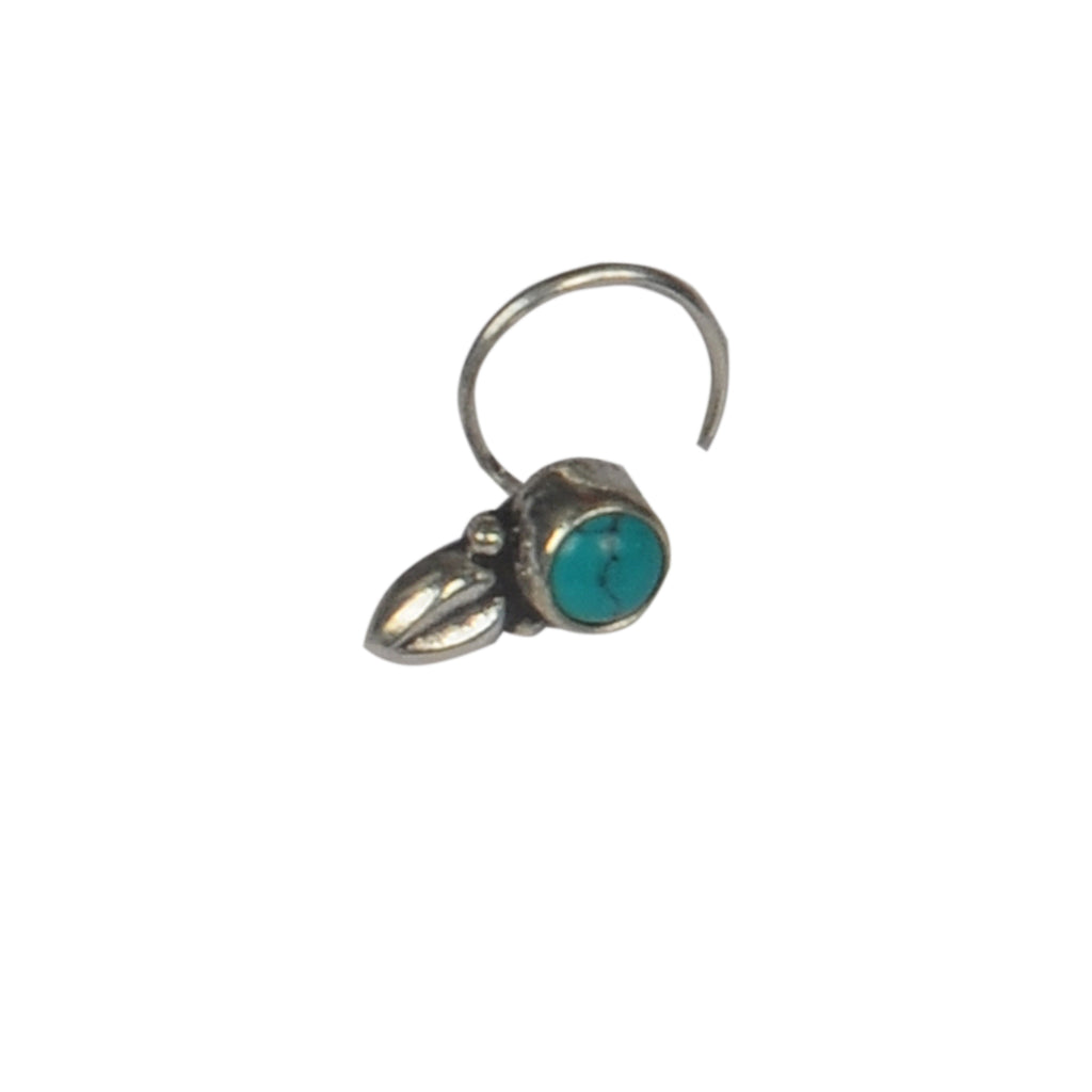RITI- Oxidised Silver Turquoise Nose Ring