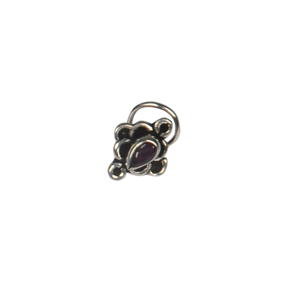 RITI- Oxidised Silver Ruby Stone Nose Ring