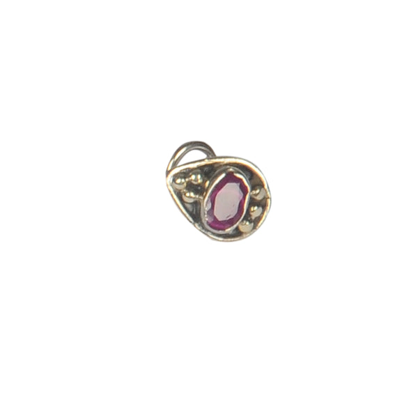 Silver Oxy Ruby Stone Nose Ring