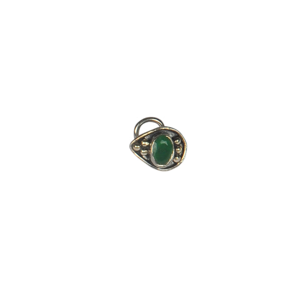 Silver Oxy Green Stone Leaf Shape Nose Ring