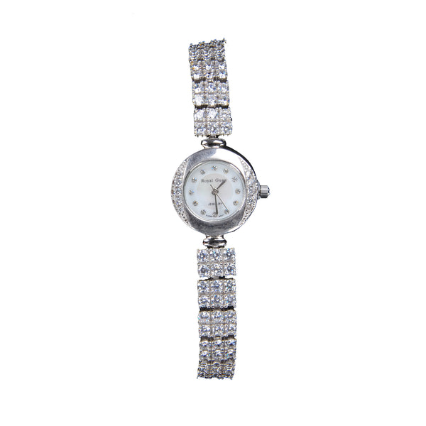 Silver Round Shaped CZ Watch