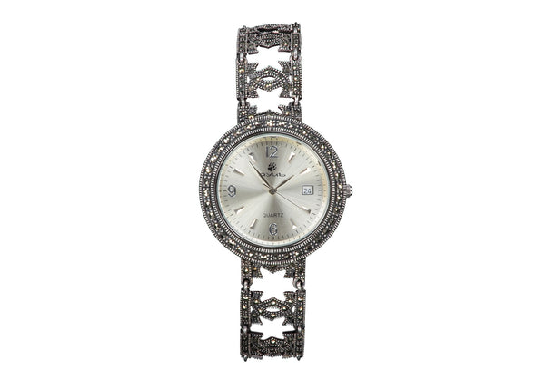 Silver Oxidised Antique Watch