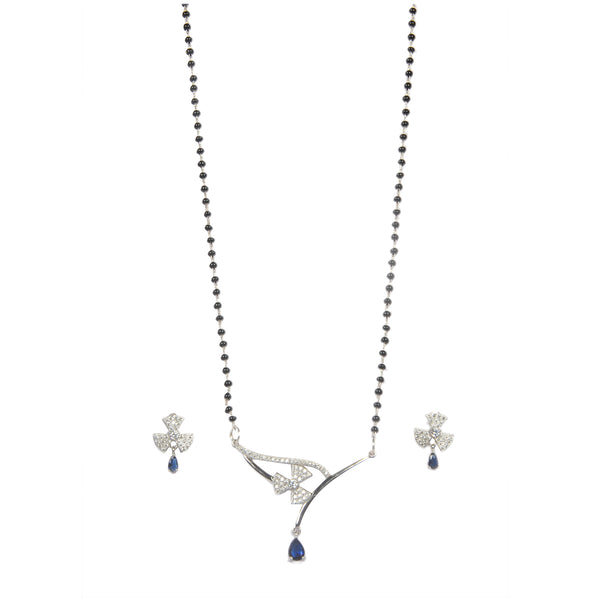 Silver Hanging Bluestone Mangalsutra With Earrings