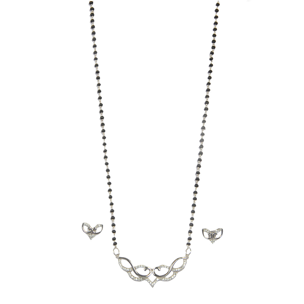 Silver Mangalsutra Pendent with Earrings