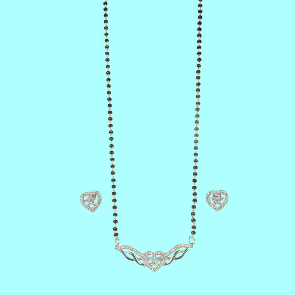 Silver Heart Shape Mangalsutra pendant with Earrings
