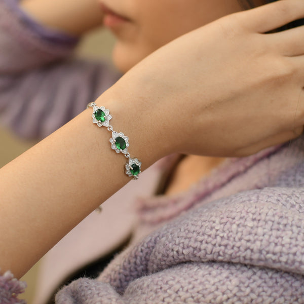 Sterling Silver Emerald and Stone Studded Bracelet
