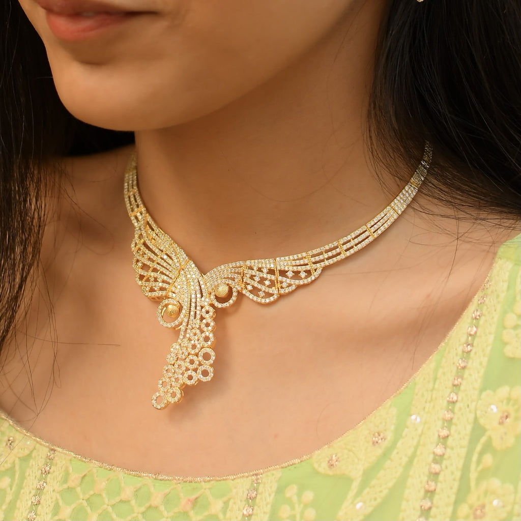 Sterling Silver Gold Plated Reflective Necklace with Earrings
