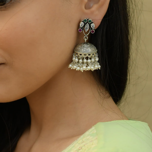 RITI- Oxidized Sterling Silver Antique Multi Stone Jhumka.