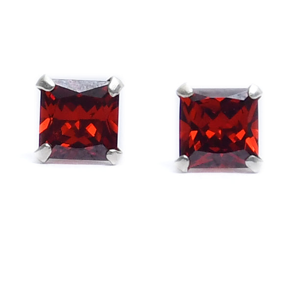 Silver Amber Stone Stud