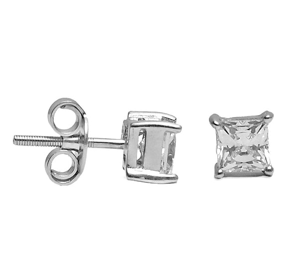 Sterling Silver Swarovski Square  Earrings