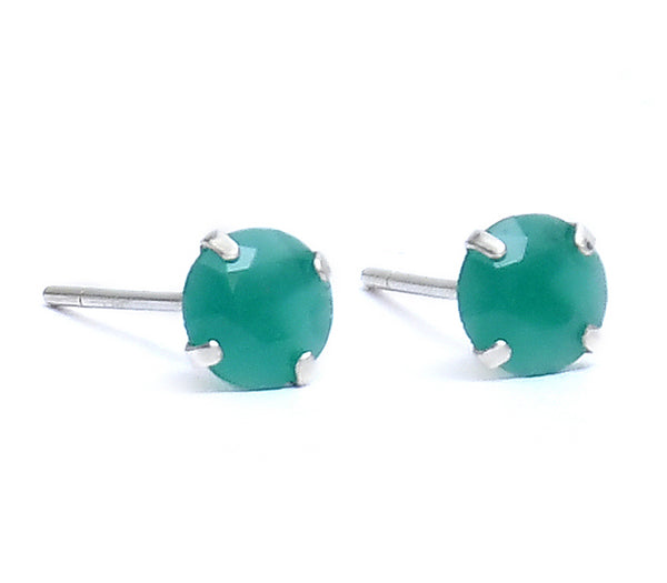 Sterling Silver Emerald Stone Stud