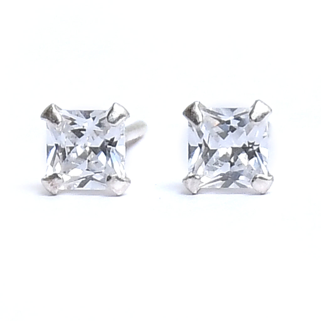Sterling Silver Square Silver CZ Stud