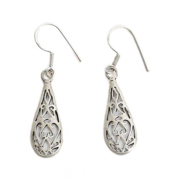 Sterling Silver Oxidised Hanging Drops Earrings