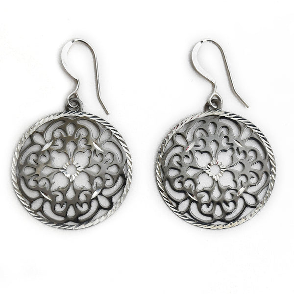 Sterling Silver Cutout Drop Flower Earring