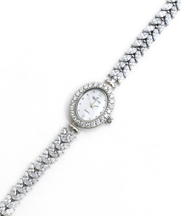 CZ Sterling Silver Oval Shaped Dial Watch