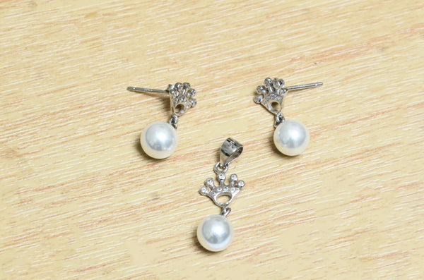 Sterling Silver Pearl Drop Pendant With Earring