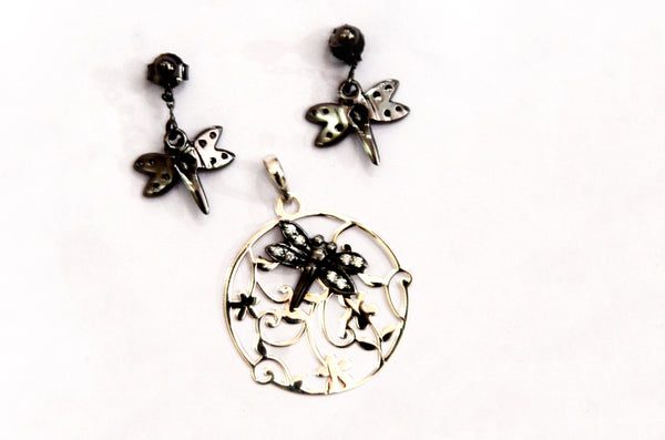 Sterling Silver Dragon Fly Pendant With Earring