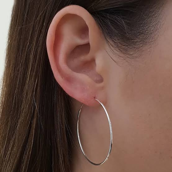 Medium Silver Hoop Earring
