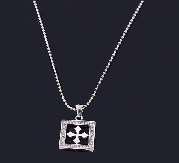Silver Antique Cross Pendant Chain