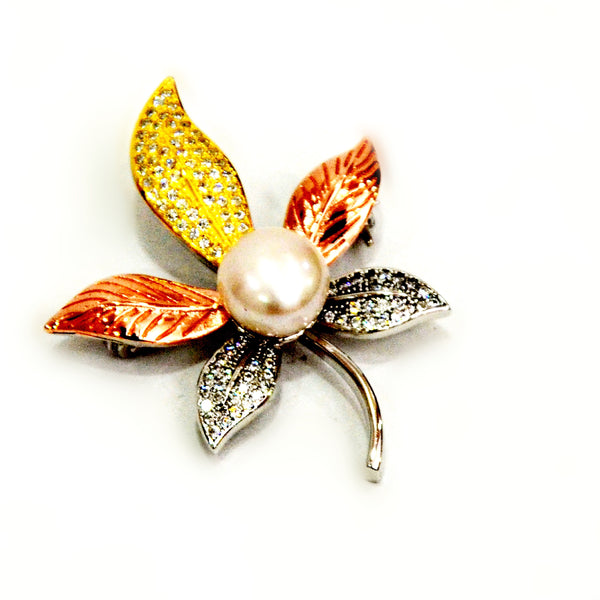 Sterling Silver White Pearl multicolour Flower Brooch