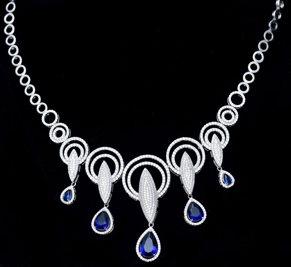 Traditional Sapphire Sterling Silver Necklace With Earring