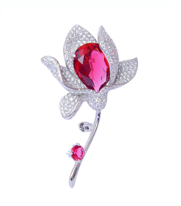 Sterling Silver Synthetic Ruby Flower Shaped Brooch