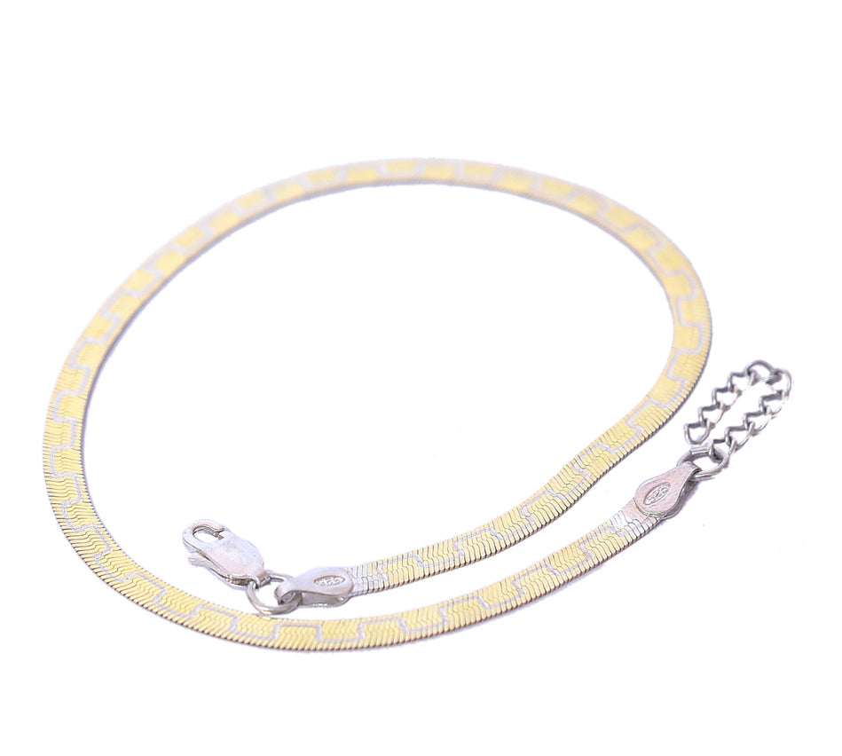 Sterling Silver Gold Plated Italian Stylish Anklet