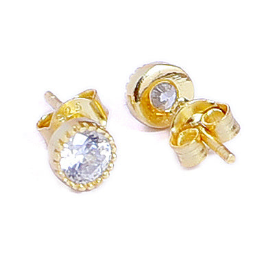 Sterling Silver Gold Plated Swarovski Stud