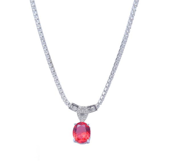 Sterling Silver Ruby Solitaire Pendant With Chain