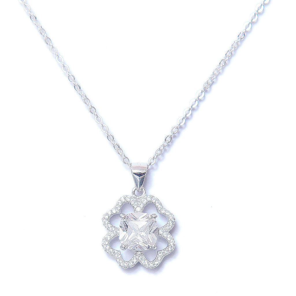 Silver Halo Flower Pendant With Chain