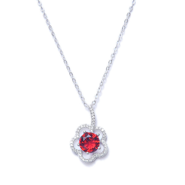 Sterling Silver Halo Flower Synthetic Ruby Pendant With Chain