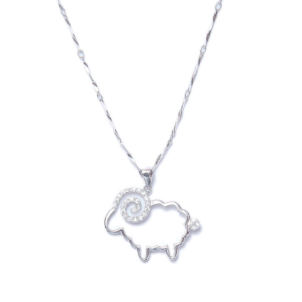 Antique Sterling Silver Kitty Pendant With Chain