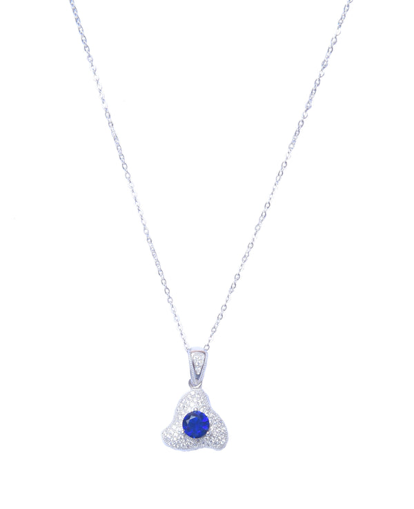 Sterling Silver Spiral Sapphire Pendant With Chain