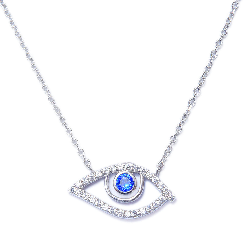 Sterling Silver Eye Shape Pendant With Chain