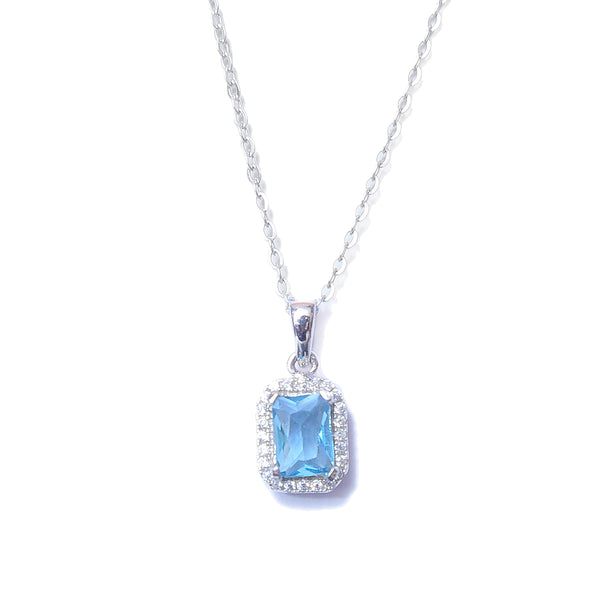 Aqua Stone CZ Sterling Silver Pendant With Chain