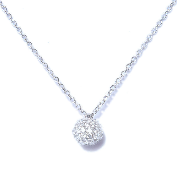 Sterling Silver Crystal Ball Shape Pendant With Chain