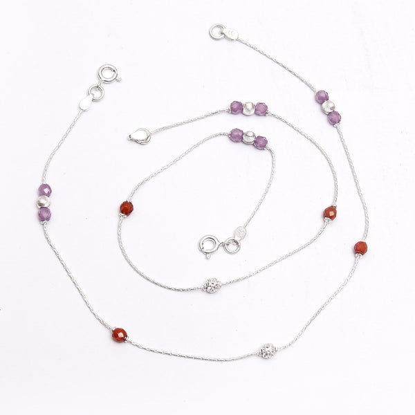 Silver Purple & Red Stone Anklet