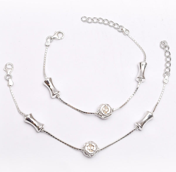 Sterling Silver Rose Kids Anklet