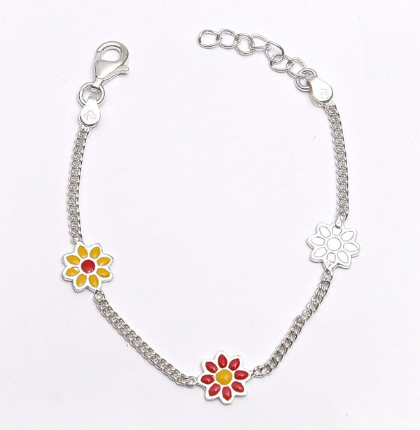 Sterling Silver Yellow And Red Flower Kids Anklet