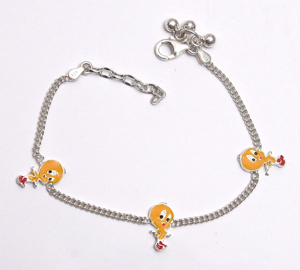 Sterling Silver Tweety Yellow And Red Kids Anklet