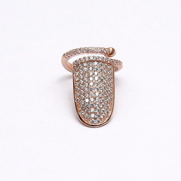 Silver Adjustable CZ Rose Gold Nail