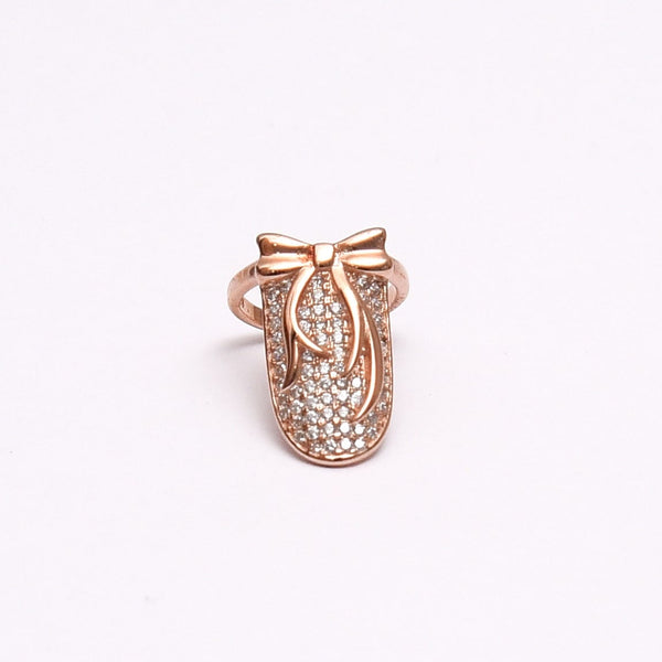 Silver Adjustable Rose Gold Bow Nail