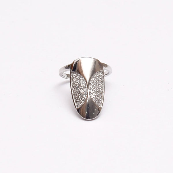 Silver Adjustable Half Circle CZ Nail