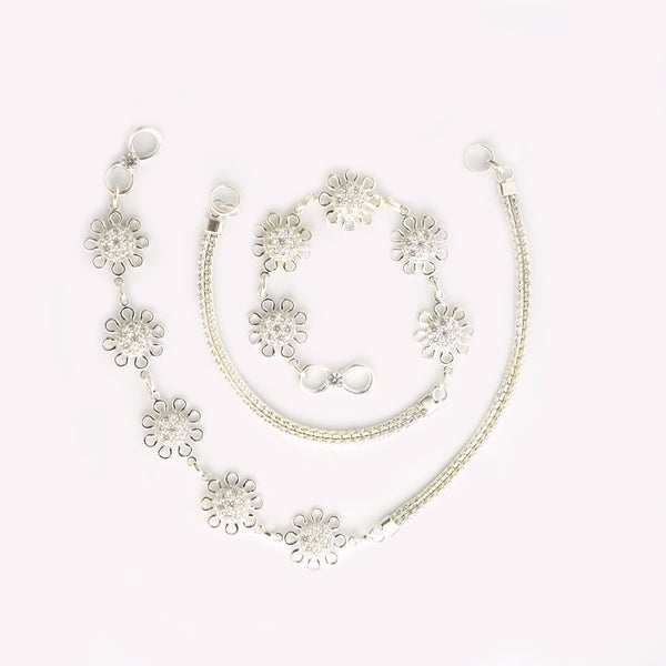 Silver Stylish Sunflower Anklet