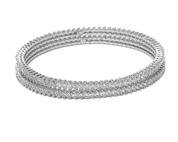 Sterling Silver Single Line CZ Bangle